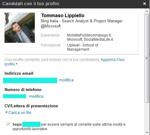 Candidatura Offerta - Utente LinkedIn