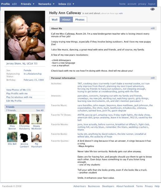 Layout Facebook nel 2005