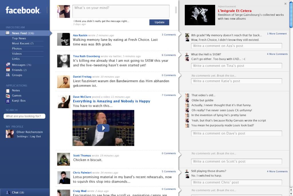 Layout Facebook nel 2006