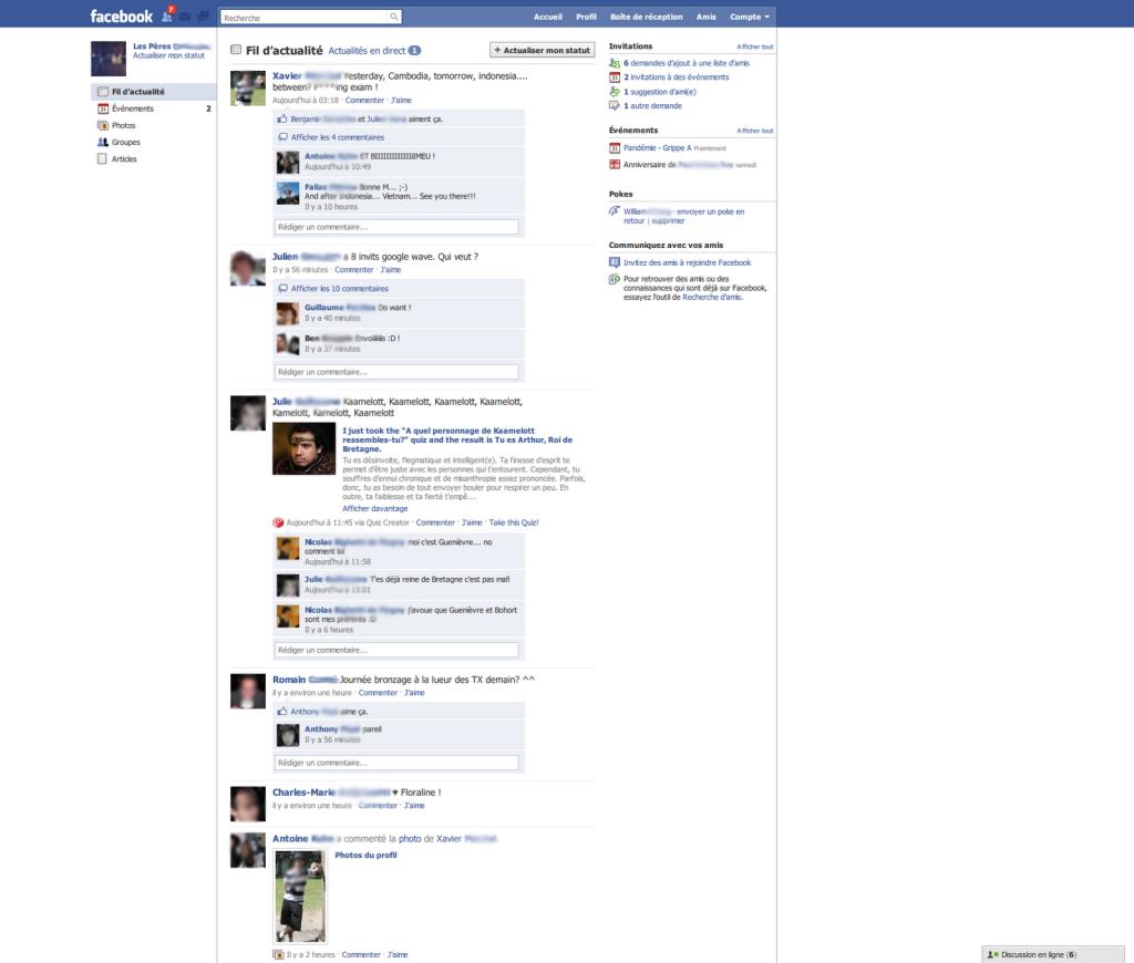 Layout Facebook nel 2009