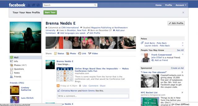 Layout Facebook nel 2010