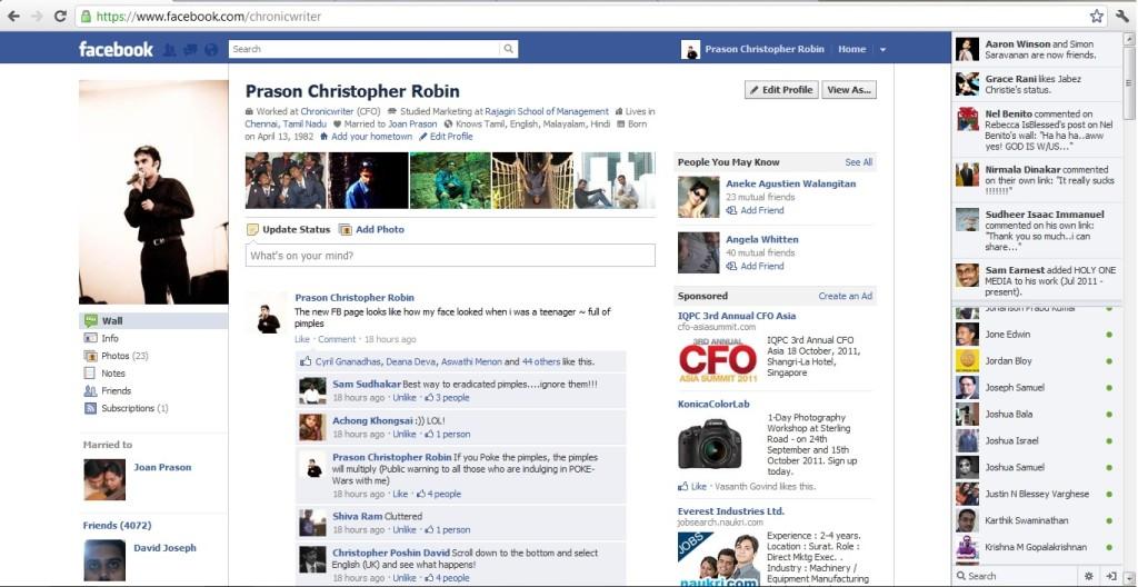 Layout Facebook nel 2011