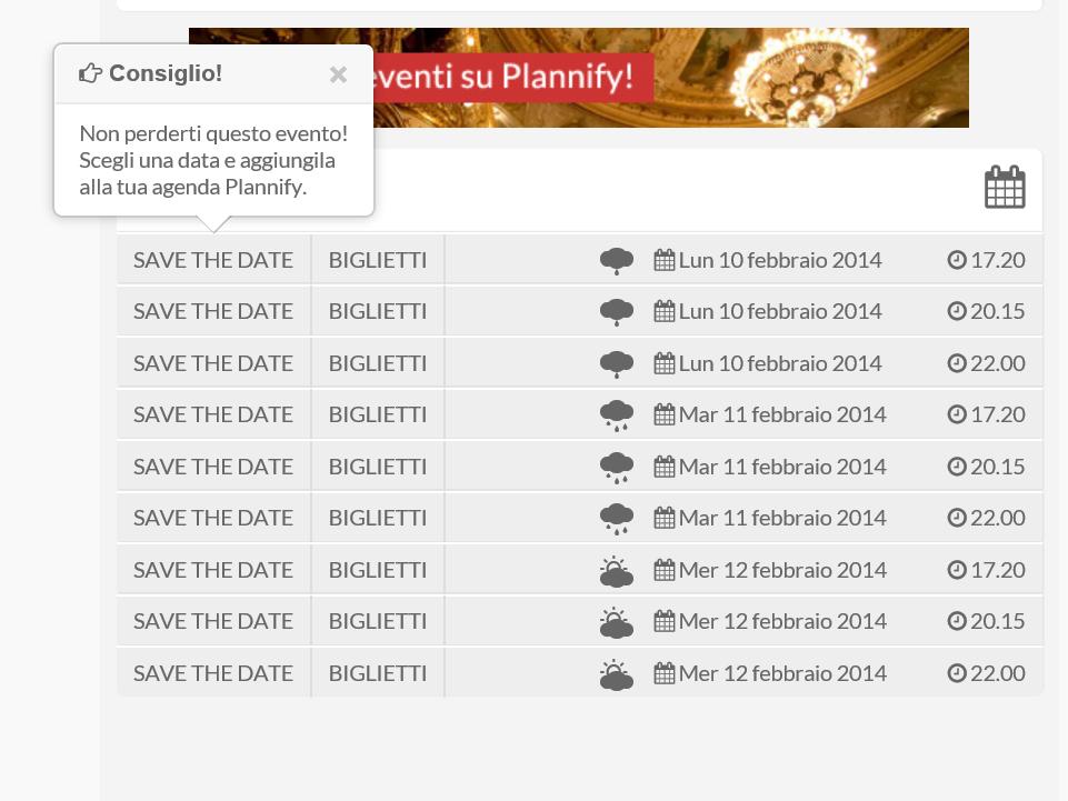 Momorizzare Eventi su Plannify