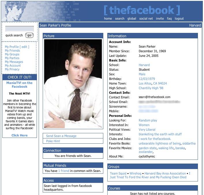 Esempio di profilo su The Facebook nel 2004