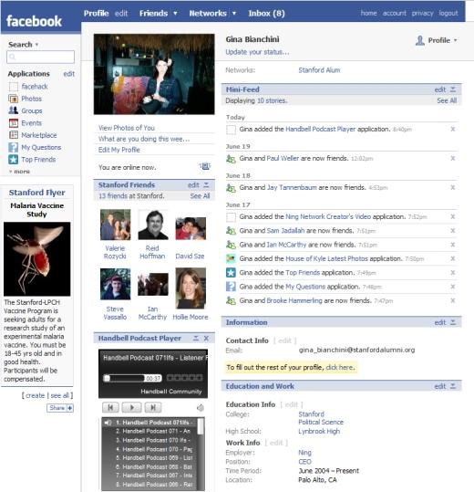 Layout Facebook nel 2007