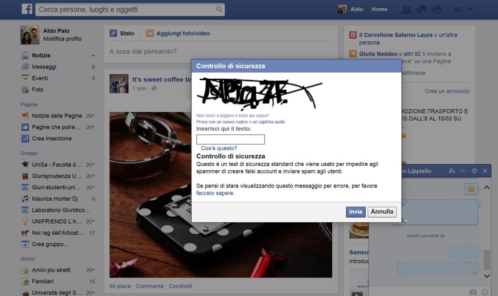 Codice Captcha Messaggi Facebook