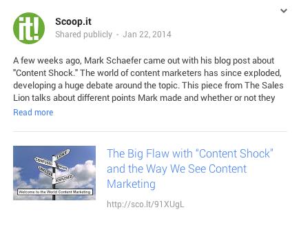 Condivisione di uno Scoop dall'app su Google+