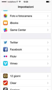 Facebook App Impostazioni