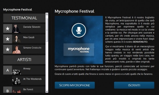 Home Page di Mycrophone