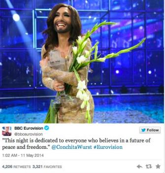 Tweet BBC Eurovision su Conchita Wurst