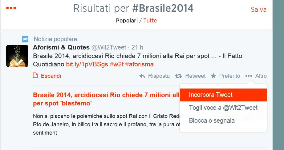 Hashtag #Brasile2014 su Twitter