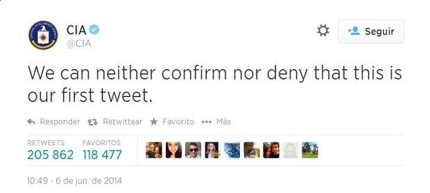 Primo tweet della Cia