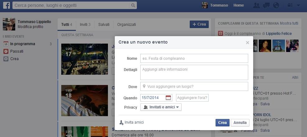 Crea Eventi Facebook