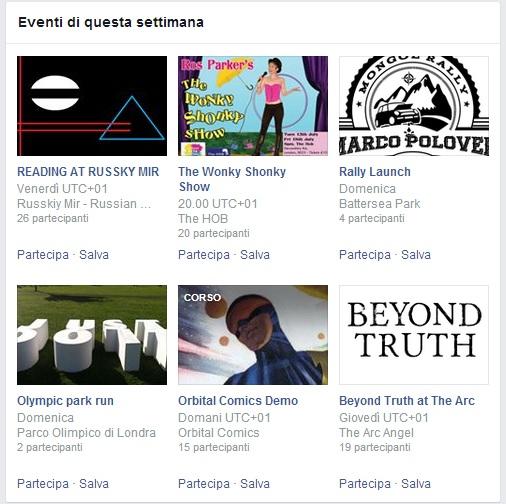 Eventi della Settimana Facebook