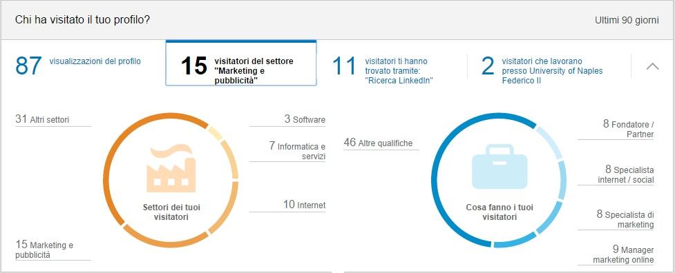 Visitatori per Settore lavorativo - Profilo LinkedIn