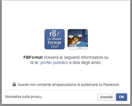 Autorizzare App Facebook Format Tool