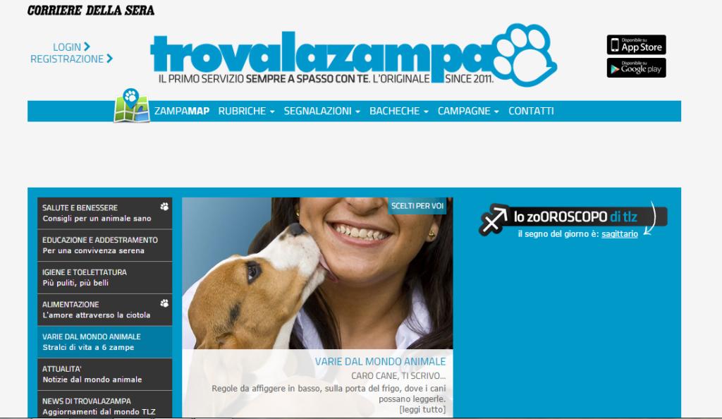 Home page Trova la Zampa - Corriere della Sera