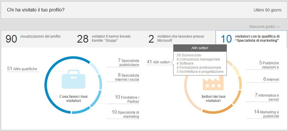 Visitatori profilo per Qualifica e Settore - LinkedIn Insights