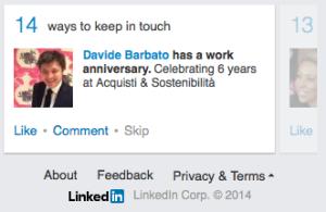 Nuovo layout LinkedIn home page focus Attività