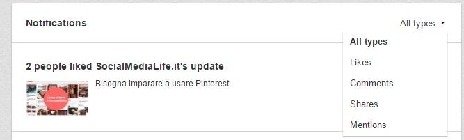 Filtro Notifica per Titpo - Pagina Azienda LinkedIn