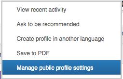 Nuovo profilo linkedin - Gestisci Impostazioni profilo pubblico