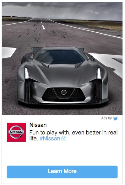 Tweet sponsorizzato Nissan