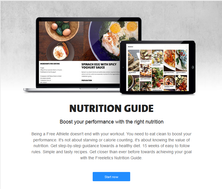 Nutrition guide on Freeletics