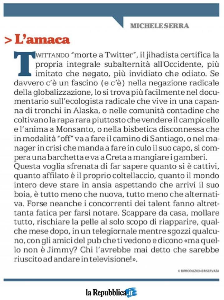 Michele Serra scrive sulle minacce a Twitter