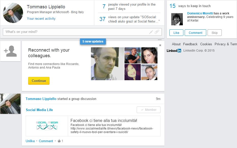 LinkedIn nuovo layout timeline