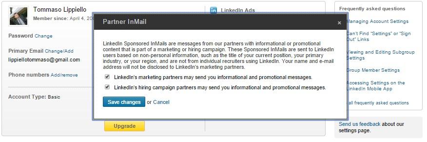 Partner InMail - LinkedIn - Termini e Condizioni