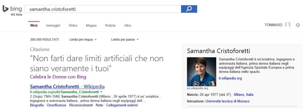 Samantha Cristoforetti - Bing