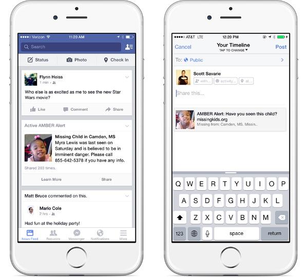 Facebok Amber Alerts esempio mobile