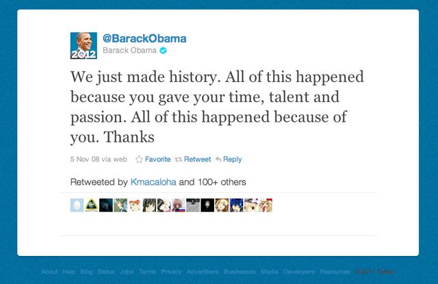 Il tweet della vittoria di Barack Obama nel 2008.