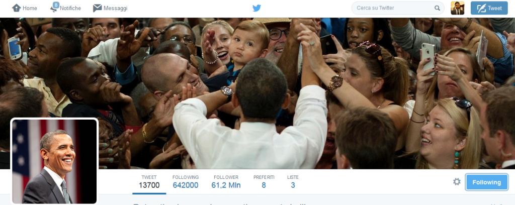 Account ufficiale Twitter di Barack Obama