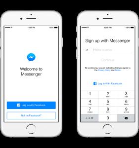Facebook Messenger Sign Up iOS
