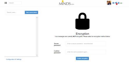 Minds Chat con crittografia - SocialWebMax