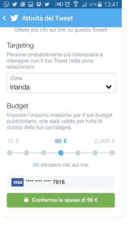 Budget della campagna - Guida Twitter Quick Promote