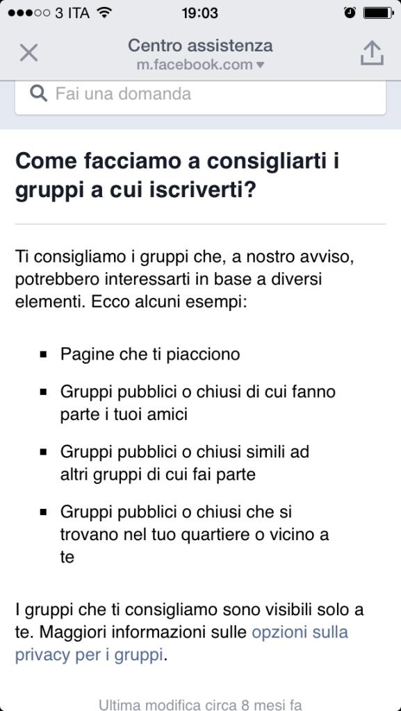 Facebook Gruppi App - Criteri Suggeriti