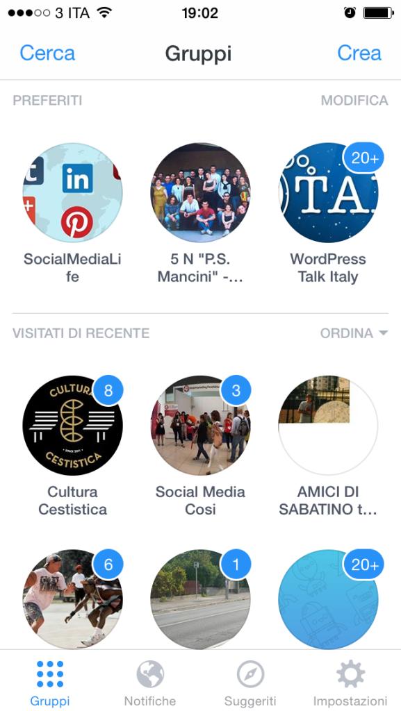 Facebook Gruppi App - Elenco