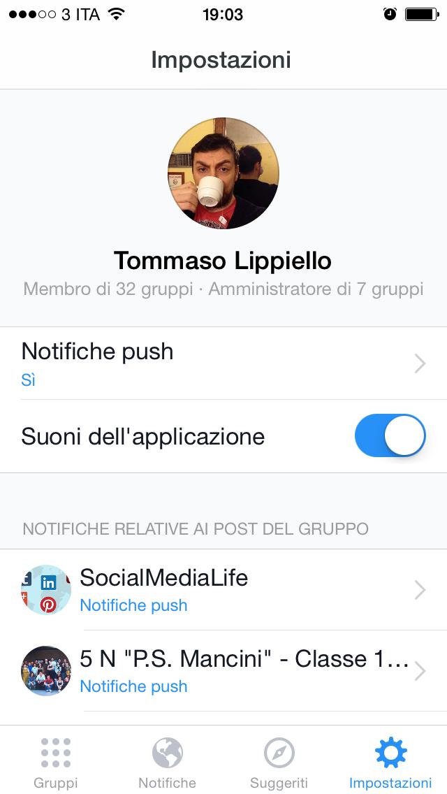 Facebook Gruppi App - Impostazioni