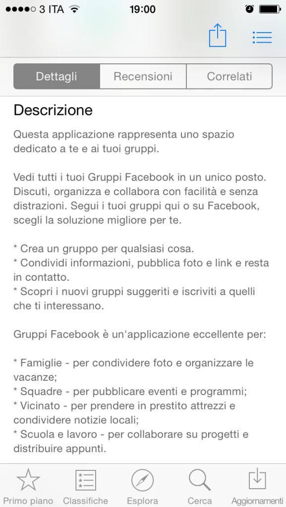 Facebook Gruppi Applicazione - Descrizione