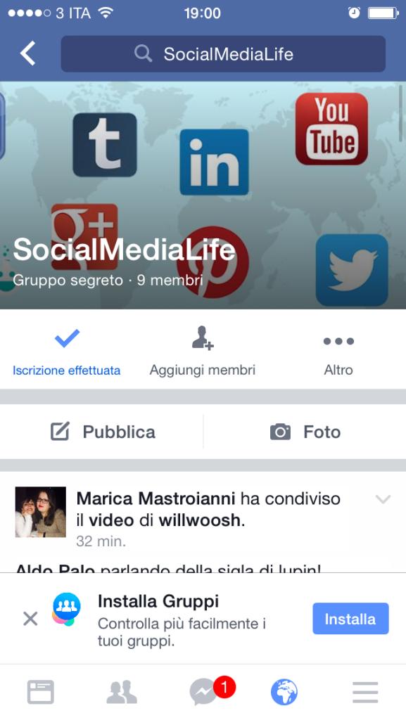 Installa Facebook Gruppi App Mobile