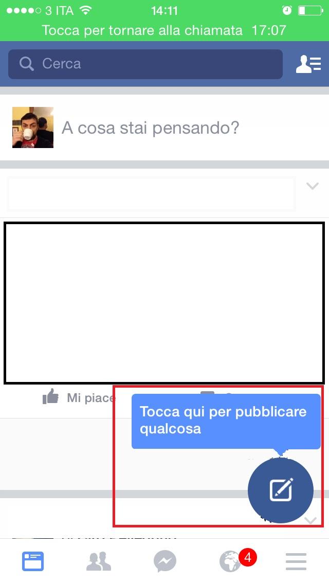 Nuovo Pulsante Pubblicazione Facebook Mobile
