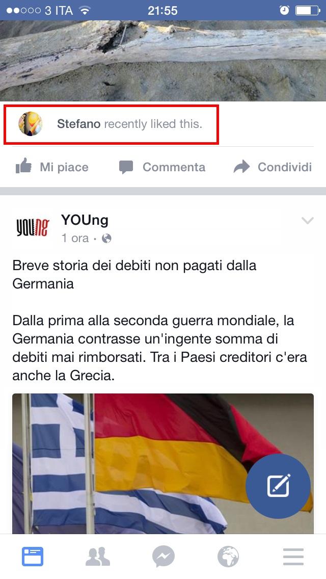 Nuova notifica Like Facebook mobile