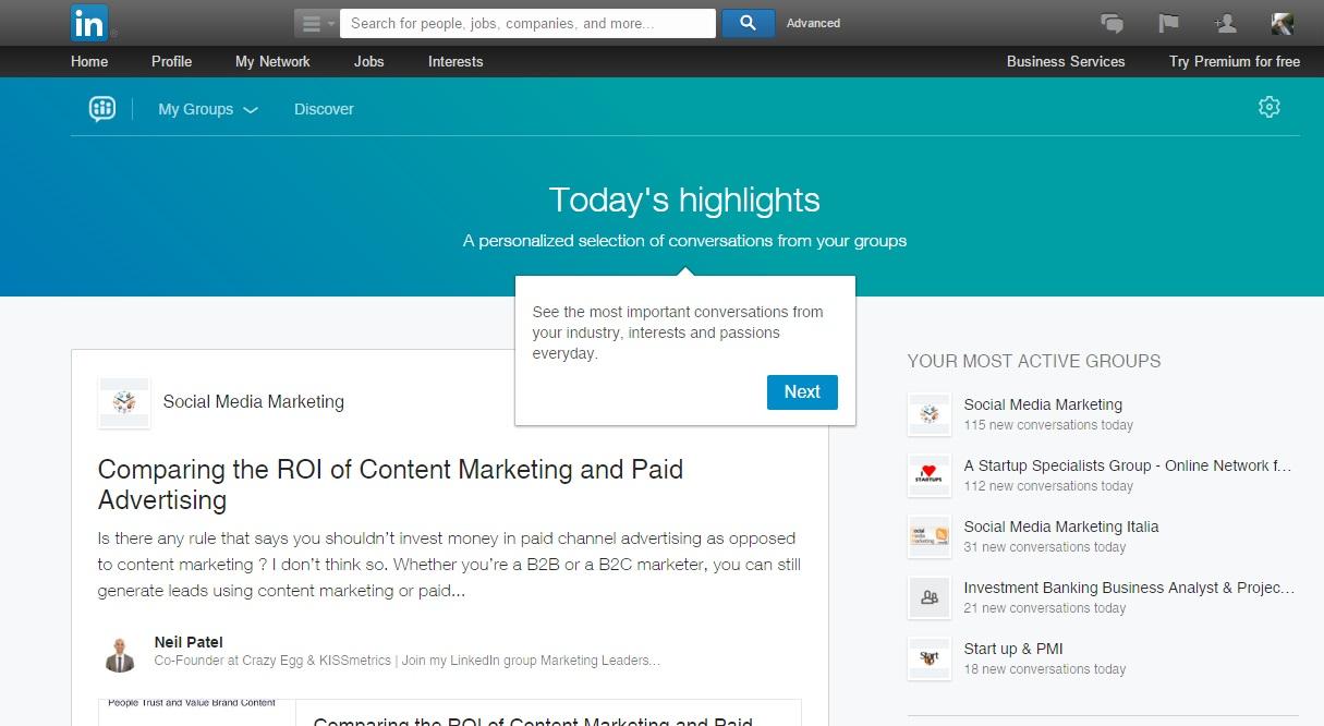 Nuovi Gruppi LinkedIn - Highlights Anteprima Notizie