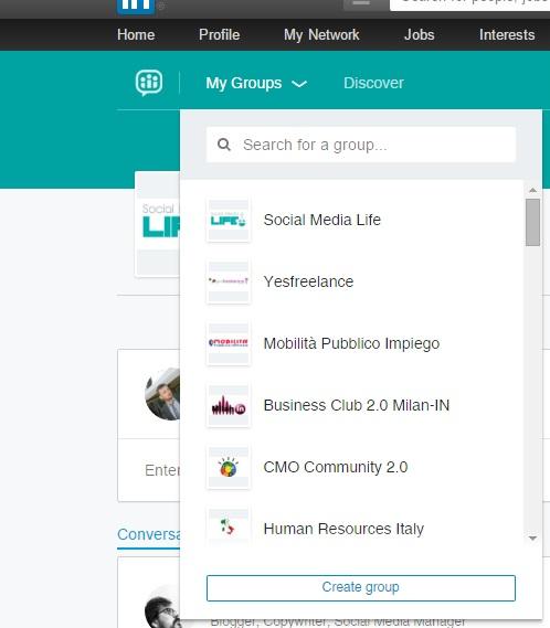 Nuovi Gruppi LinkedIn - Miei Gruppi