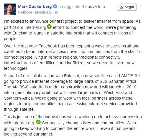 Zuckerberg e internet in Africa