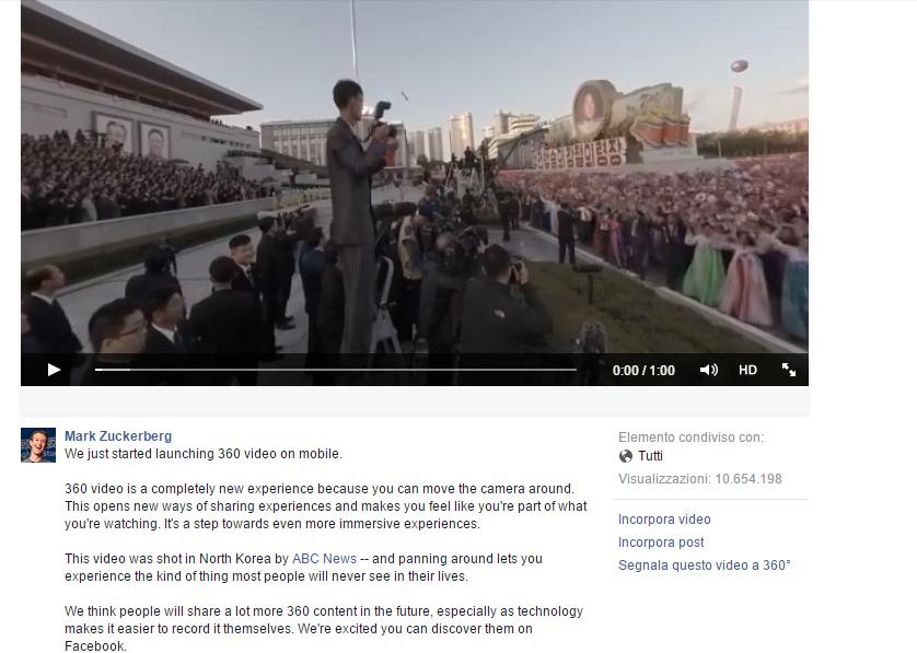 Facebook Video a 360 gradi sul profilo di Mark Zuckerberg