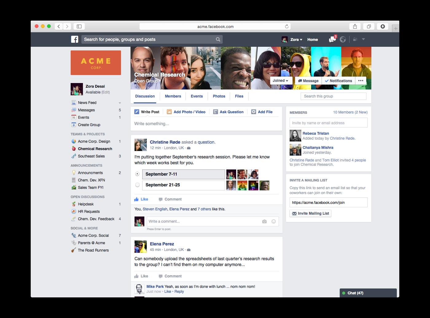 Facebook at work - Come funziona