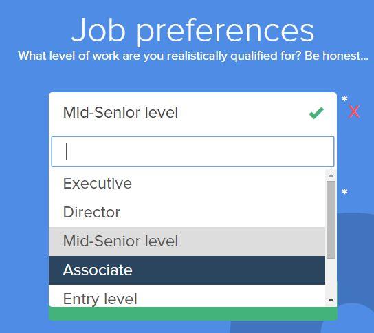 Livello di esperienza lavorativa su Opportunity